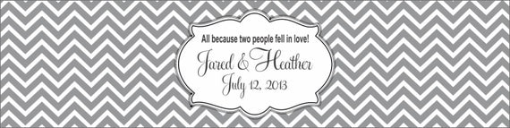 50 Wedding Stickers, Chevron Waterproof Water Bottle Labels - Printed labels with your wedding colors