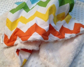 Riley Blake Chevron Large Rainbow on Ivory Minky Swirl Blanket- Baby, Toddler or Child Size
