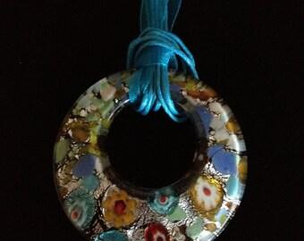 SALE! Vibrant Glass Pendant Necklace