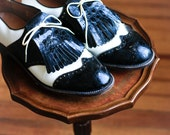Patent Leather Black and White Wing Tip Golfing Cleats Size 10