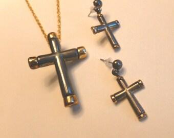 30% SALE: Four Piece CROSS plus Earrings, Metallic Glaze Cross Pendant Brooch, Vintage OOAK Cross Necklace, Cross with Chain and Earrings,