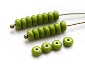 Olive green czech glass beads,rondelle, spacers, rondel, pressed beads - 4mm - approx. 80-85pc - 1799