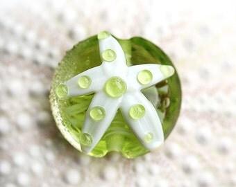 Starfish bead, Green lampwork glass, handmade - SRA, by MayaHoney