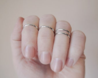 Simple Knuckle Ring - Simple Midi Ring - Stacking Ring - Sterling Silver 925 - Eco-Friendly Sustainable Silver - 14 gauge - Made to Order