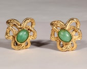 LANVIN 60s High Fashion Gold Tone Earrings Intertwined Green Poured Glass Clip On Abstract Jewelry