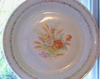 Antique Ceramic Large Serving Platter / Floral Plate for Turkey / Holiday Serving Piece