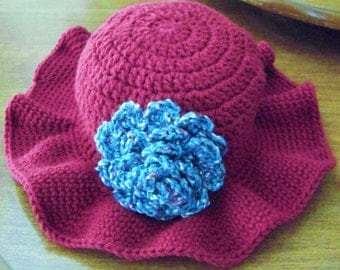 Crocheted Women's Raspberry Pink Winter Hat with Wide Floppy Brim and Detachable Big Flower