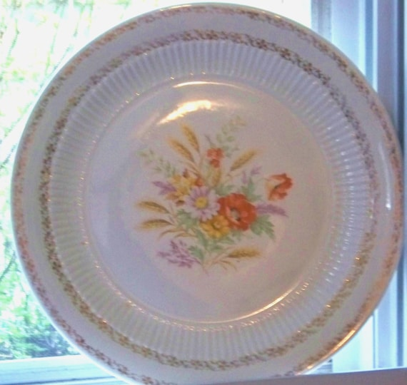 Antique Ceramic Large Serving Platter / Floral Plate for Turkey / Holiday Serving Piece