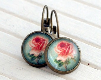 Shabby Chic Rose Earrings .. pink turquoise earrings, flower earrings, rose earrings, cottage chic earrings, shabby chic earrings