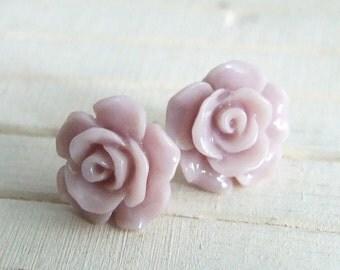 Lilac Rose Earrings ...rose earrings, lavender earrings, flower studs