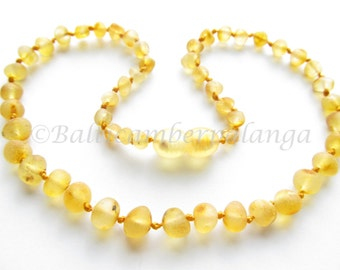 Baltic Amber Baby Teething Necklace, Raw Unpolished Lemon Color Rounded Beads