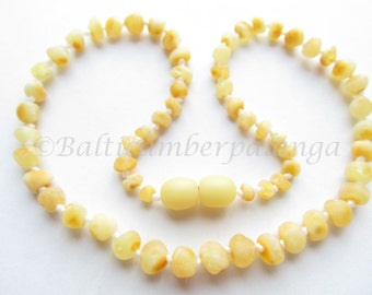 Baltic Amber Teething Necklace, Raw Unpolished Rounded Beads