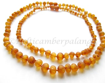 Baltic Amber Teething Set for Baby and Mommy, Raw Unpolished Cognac Color Beads