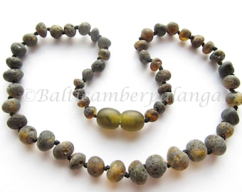 Baltic Amber Teething Necklace, Raw Unpolished Black Beads