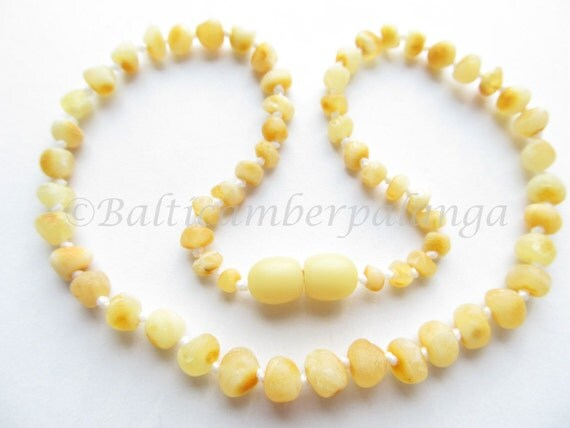 Raw Unpolished Baltic Amber Baby Teething Necklace