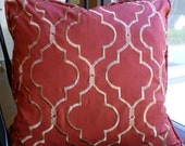 Reversible Gold Embroidery on Paprika  Pillow Covers - 20 x 20 - Self Corded with Invisible Zipper