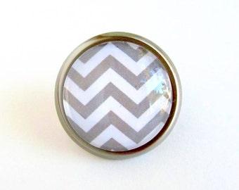Grey White Chevron Glass and Metal Round Knob Nursery Decor