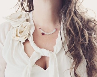 Aquamarine Necklace with Garnet Stones and Flower Charm - Minimal & Dainty Jewelry