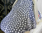 Cool 100% Cotton Baby Car Seat Canopy Cover Gray Polka Dots (fitted), FREE MONOGRAMMING
