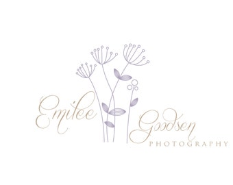 Custom Logo Design and Watermark Premade Logo for Photographers and Small Crafty Boutiques Lavender and Beige Dandelions
