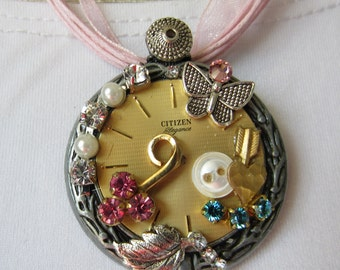 Silver and Gold Steampunk Butterfly Necklace / Brooch