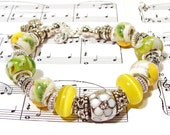 Summertime Yellow and Green Euro-Style Beaded Garden Bracelet