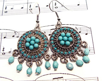Turquoise and Silver Dangle BOHO Bohemian Style Earrings