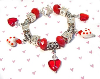 Valentine Heart European Style Bracelet with Heart Charms and Crystals