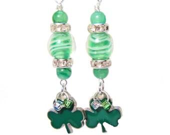 Lucky Shamrock Dangle Earrings with Rhinestones