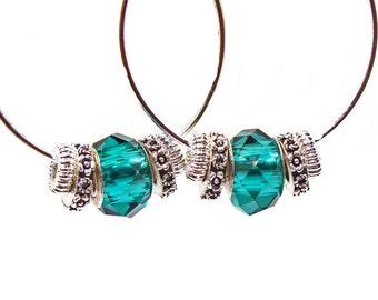 Hoop Earrings with Emerald Green Crystal European Style Beads