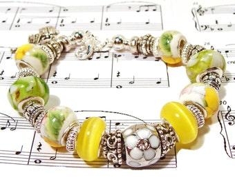 Summertime Yellow and Green Euro-Style Beaded Garden Bracelet
