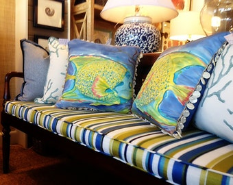 """HANDPAINTED SILK PILLOWS  """"Fish Couple""""  with down fill"""