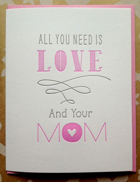Mother's Day card. Mothers Day. Letterpress card for Mom. Mom Mother's Day card.