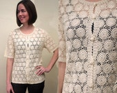 Amazing Vintage Button Up Hand Crocheted Off White Top with Floral Detail