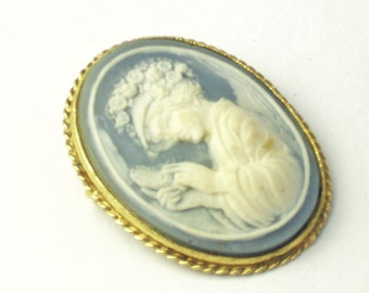 Vintage Cameo Brooch High Relief Very Detailed Jasperware 1950's Mid Century Costume Jewelry Pin Gift For Her on Etsy