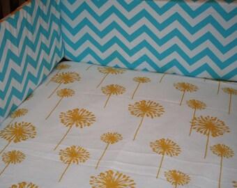 White Yellow Dandelion Crib Sheet