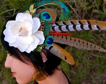 GODDESS BLOSSOM Feather Headdress