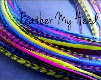 12 Pc Cheap  Feather Extensions Grizzly Rooster Feathers Whiting Hair Feathers Long 9-12 inches DIY Do It Youself Kit Or Salon Kit
