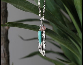 Silver Feather Charm with Turquoise Drop Stone and Coral Bead