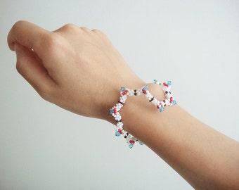 Beaded Bangle, Seed Bead Jewelry, Bohemian, Native, Casual Thin Bangles, Crystal Bangle, Gift Idea For her