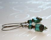 Aqua Picasso earrings, Picasso bead earrings, Aqua earrings, Long dangle earrings