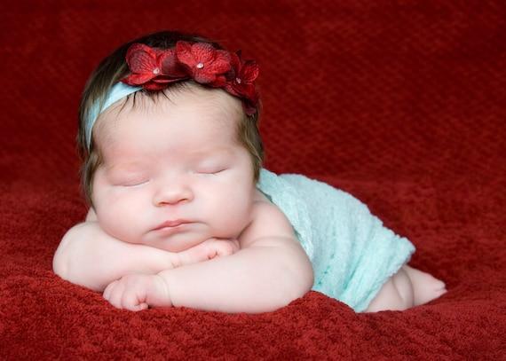 Aqua Cheesecloth Wrap and Headband Set...Baby Bows...Photography Prop...Baby Girl Headband...