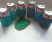 7 can cozies, ocean colors of blue and green, blue can cozy, green can cozy
