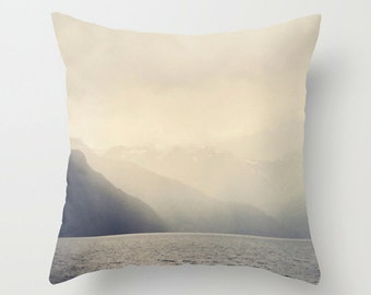 Lake Mountain Ombre Accent Pillow Cover in Ombre Cream to Gray Monochromatic Decor, Photo Cushion Cover - 2 sizes available
