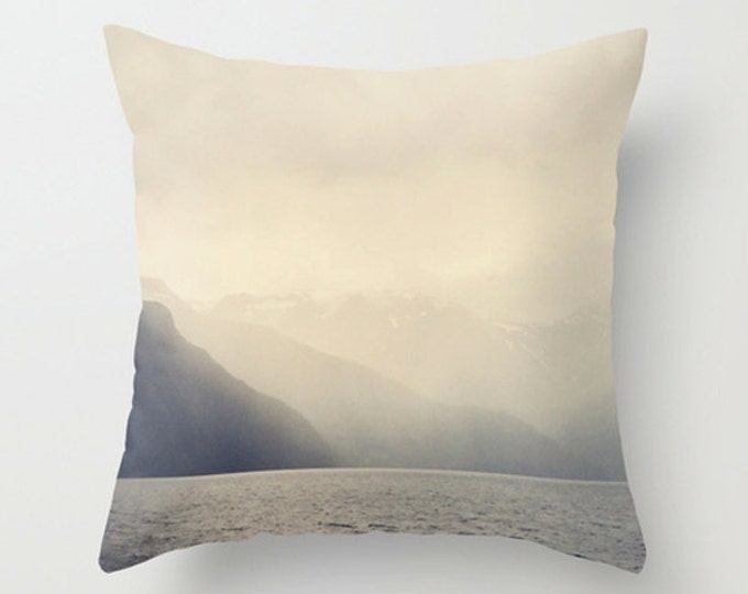 IN STOCK On Sale Lake Mountain Ombre Accent Pillow Cover in Ombre Cream to Gray Monochromatic Decor, Photo Cushion Cover