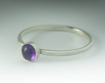 Amethyst Ring - Stackable Sterling Silver Amethyst Ring - 5mm Stone