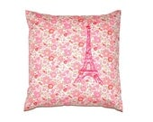 Neon Pink Paris Eiffel Tower Printed on Betsy Liberty Fabric Pillow Cover