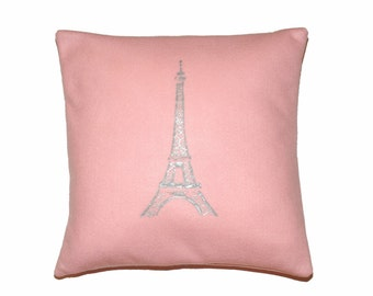 Silver Paris Eiffel Tower Printed on Pastel Pink Felt Pillow - More Sizes Available