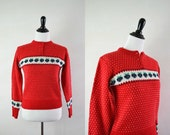 Red 80s Sweater Jumper / 1980s Sweater / Bright Red Strawberries Sweater S M