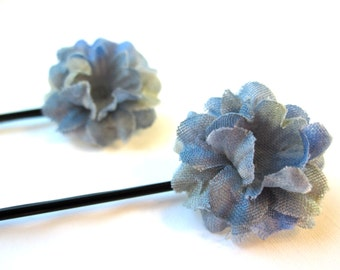 Set of 2 Light Blue Fabric Flower Hairpins